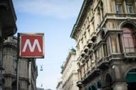 Red metro underground in downtown Milan
