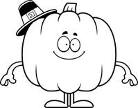 Happy Cartoon Pumpkin Pilgrim