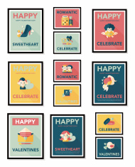 Valentine's Day poster flat banner design flat background set