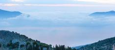Sunrise misty summer landscape ( Kefalonia, Greece).