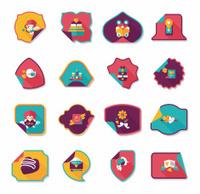 Valentine's Day sticker banner flat design background set