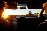Troubles of driving at sunset