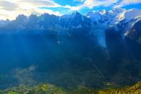 Mont Blanc Massif, Aiguille du Midi and Chamonix valley