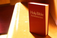 Holy Bible on pew
