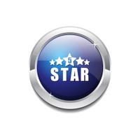 5 Star Blue Vector Icon Button