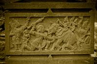 Bheema killing the elephant, Carving at Shri Bhiravnath Temple,