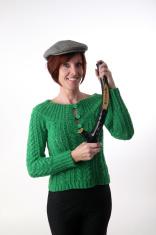Irish woman holding shillelagh