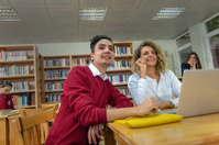 Four Turkish students hang out in the library Istanbul
