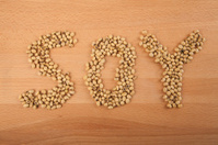 Soybean in shape of soy word