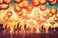 Businessmen zombies walking, bizarre sky with glowing meteors