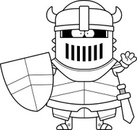 Waving Cartoon Black Knight