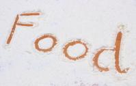Word food written in flour