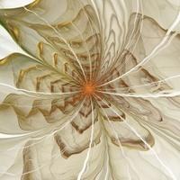 Symmetrical orange fractal flower, digital artwork