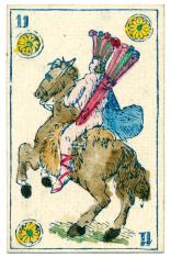 Mexico playing card baraja 1846 Cavalier of Diamonds coins Oros