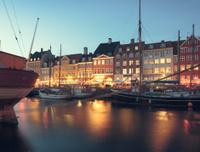 Evening in Nyhavn canal in Copenhagen