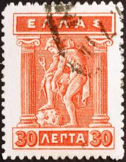 God Hermes on old greek stamp of 1914