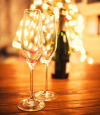 Champagne flute glass celebrating the new year