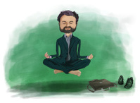 Meditating business man