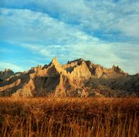 Eroded landscape Badlands National Park South Dakota copyspace