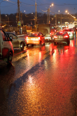 urban traffic in rainy night