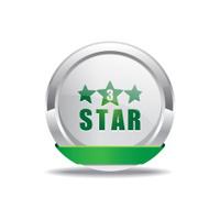 3 Star Green Vector Icon Button