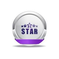 5 Star Purple Vector Icon Button