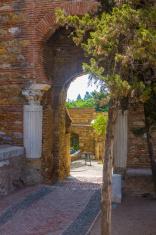Ancient brick passageway door in the famous La Alcazaba