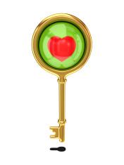 Golden key with a little heart inside.