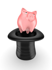 Pink piggy bank in a cylinder.