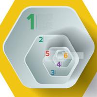 Yellow infographic hexagons