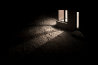 Creepy night - modern house in snow