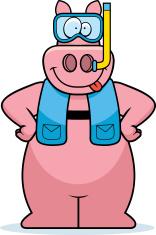 Cartoon Pig Snorkeling