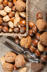 Collection of shelled nuts and nutcracker.