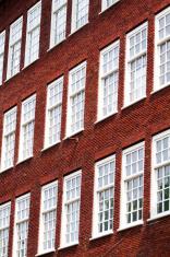 Windows and brick facade