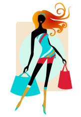 Whimsical shopping girl