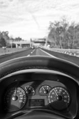 Car Dashboard on Multiple Lane Highway