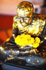 Wooden Thai buddha / monk statue