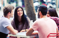 Friends in an outdoor cafe