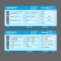 Airline Boarding Pass Tickets To Amsterdam Isolated On