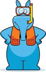 Cartoon Aardvark Snorkeling