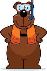 Cartoon Bear Snorkeling