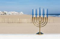 Hanukkah Menorah at the beach