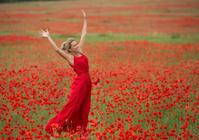 Beautiful blonde woman, red dress, in a poppy field