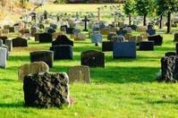 Norwegian autumn cemetery tombstones