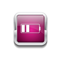 Battery Pink Vector Icon Button