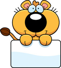 Cartoon Lioness Cub Sign