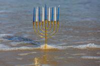 Chanukah Menorah on the beach