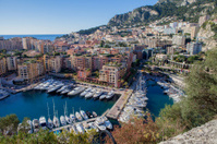 View of monaco port in Fontvielle from the village, daytime