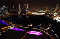 Singapore sky line aerial.