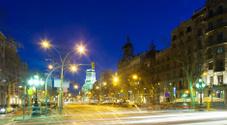 Evening view of Passeig de Gracia in winter